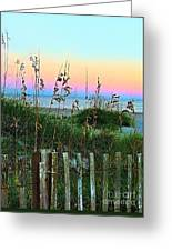 Topsail Island Dunes And Sand Fence Greeting Card by Julie Dant