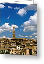 Torre De Mangia And Siena Skyline Greeting Card by Axiom Photographic