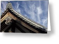 TOSHODAI-JI TEMPLE ROOF GARGOYLE - NARA JAPAN Greeting Card by Daniel Hagerman