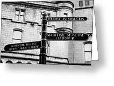 Tourist Information Signs Directions Street Aberdeen Scotland Uk Greeting Card by Joe Fox