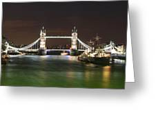 Tower Bridge And Hms Belfast At Night Greeting Card by Jasna Buncic