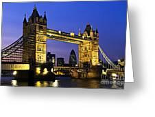 Tower Bridge In London At Night Greeting Card by Elena Elisseeva