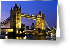 Tower bridge in London at night Greeting Card by Elena Elisseeva