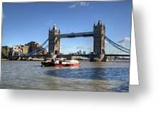 Tower Bridge With Canary Wharf In The Background Greeting Card by Chris Day