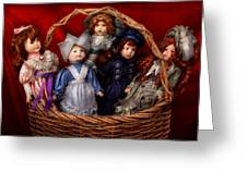 Toy - Dolls - A Basket Of Victorian Dolls Greeting Card by Mike Savad