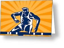 Track And Field Athlete Jumping Hurdles Greeting Card by Aloysius Patrimonio