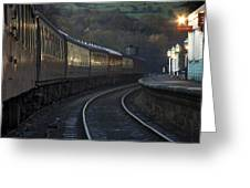 Train At Station At Dusk, Pickering Greeting Card by John Short