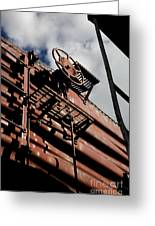 Train Car Greeting Card by Leslie Leda