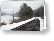 Train Tracks In Snowy Landscape Greeting Card by Roberto Westbrook