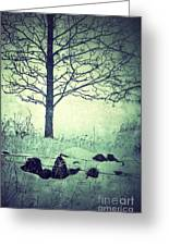 Tree And Fence In The Fog And Snow Greeting Card by Jill Battaglia