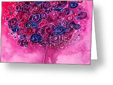Tree Of Life Pink Swirl Greeting Card by Christy  Freeman