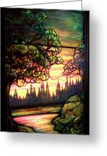 Trees Stained Glass Window Greeting Card by Thomas Woolworth