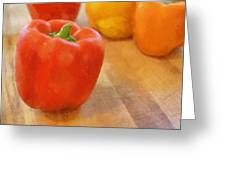 Tri Colored Peppers Greeting Card by Michelle Calkins