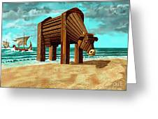 Trojan Cow Greeting Card by Russell Kightley