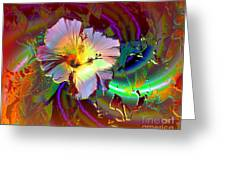 Tropical Hibiscus Explosion Greeting Card by Doris Wood