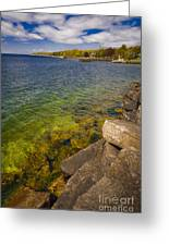 Tropical Waters Of Door County Wisconsin Greeting Card by Shutter Happens Photography