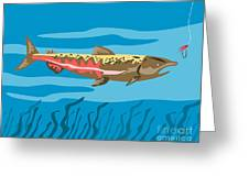 Trout Fish Retro Greeting Card by Aloysius Patrimonio