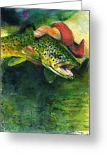 Trout In Hand Greeting Card by John D Benson