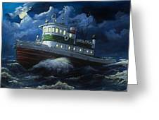 Tug Boat On Rough Water Greeting Card by Virginia Sonntag