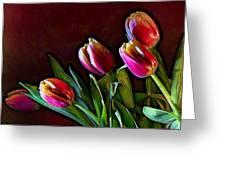 Tulip Traced Incandescence Greeting Card by Bill Tiepelman