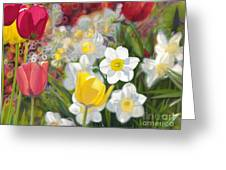 Tulips And Daffodils Greeting Card by Nicole Shaw