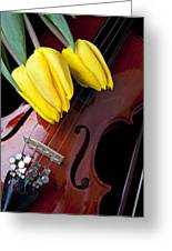 Tulips And Violin Greeting Card by Garry Gay