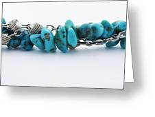 Turquoise Stones And Silver Chain Greeting Card by Blink Images