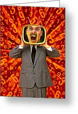 Tv Man Greeting Card by Garry Gay