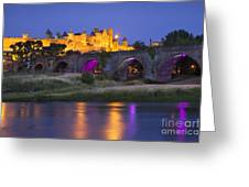 Twilight Over Carcassonne Greeting Card by Brian Jannsen