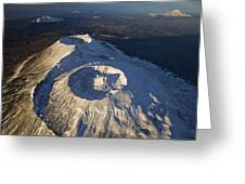 Twin Craters Atop Krasheninnikov Greeting Card by Michael Melford