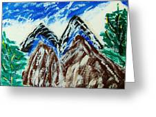 twins Peaks  Greeting Card by M and L Creations Art Craft Boutique