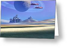 Two Aircraft Guard This Alien Planet Greeting Card by Corey Ford