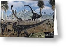 Two Allosaurus Predators Plan Greeting Card by Mark Stevenson