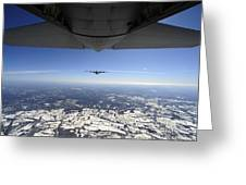 Two Ec-130j Commando Solo Aircraft Fly Greeting Card by Stocktrek Images