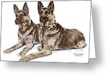 Two of a Kind - German Shepherd Dogs Print color tinted Greeting Card by Kelli Swan