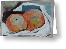 Two Oranges Greeting Card by Mindy Newman