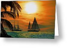 Two Ships Passing In The Night Greeting Card by Bill Cannon