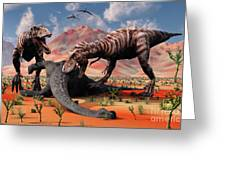 Two T. Rex Dinosaurs Feed Greeting Card by Mark Stevenson