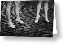 Two Young Women Wearing High Heeled Shoes And Fake Tan On Cobblestones On A Night Out In Dublin  Greeting Card by Joe Fox