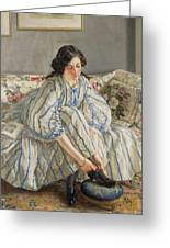 Tying Her Shoe Greeting Card by Sir Walter Russell