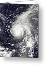 Typhoon Vamco In The Pacific Ocean Greeting Card by Stocktrek Images
