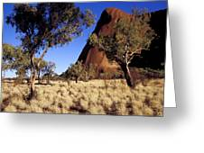 Uluru, Ayres Rock Against A Clear Blue Greeting Card by Jason Edwards
