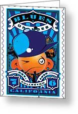 Umgx Vintage Studios Blues Orange Punk Illustrated Stamp Art Greeting Card by David Cook  Los Angeles Prints