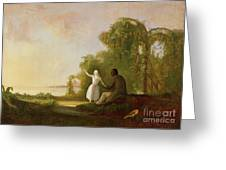 Uncle Tom And Little Eva Greeting Card by Robert Scott Duncanson