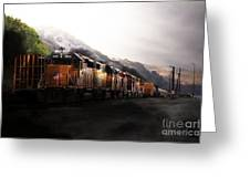 Union Pacific Locomotive At Sunrise . 7d10561 Greeting Card by Wingsdomain Art and Photography