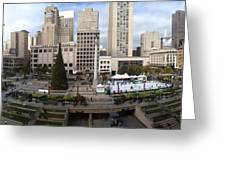 Union Square Sf Greeting Card by Ron Bissett