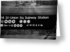 Union Square Subway Station BW Greeting Card by Susan Candelario
