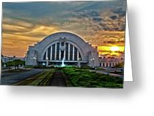 Union Terminal At Sunset Greeting Card by Keith Allen