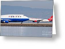 United Airlines And Virgin America Airlines Jet Airplanes At San Francisco International Airport Sfo Greeting Card by Wingsdomain Art and Photography