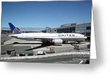 United Airlines Jet Airplane At San Francisco Sfo International Airport - 5d17107 Greeting Card by Wingsdomain Art and Photography